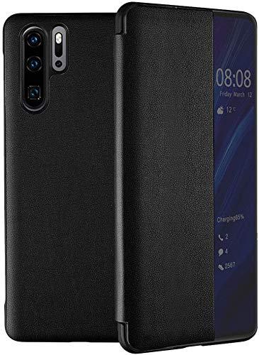 Suhctup Hülle Kompatibel Huawei Honor 20 Pro Hülle,Smart Hülle-Ansicht, Spiegel Cover Clear View Crystal Hülle Flip Intelligenten Handyhülle etui Huelle mit Frau Mirror Tasche Ledertasche