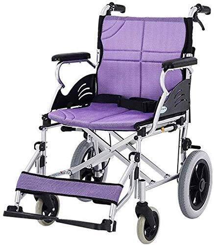 YASE-king Wheelchair Wheelchair- Aluminum Alloy Wheelchair Folding Portable and Disabled Elderly Travel Trolley, Purple, 96x60x92cm