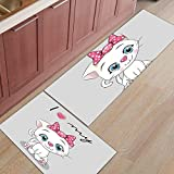 HONG Carvapet Alfombras Cocina 2 Piezas, Dibujos Animados Gato Gatito Lazo Rosa Felpudo Lavable Alfombra de Cocina Decorativo Antideslizante Suave Respaldo de GomaUtilizado,1pc,45x75cm