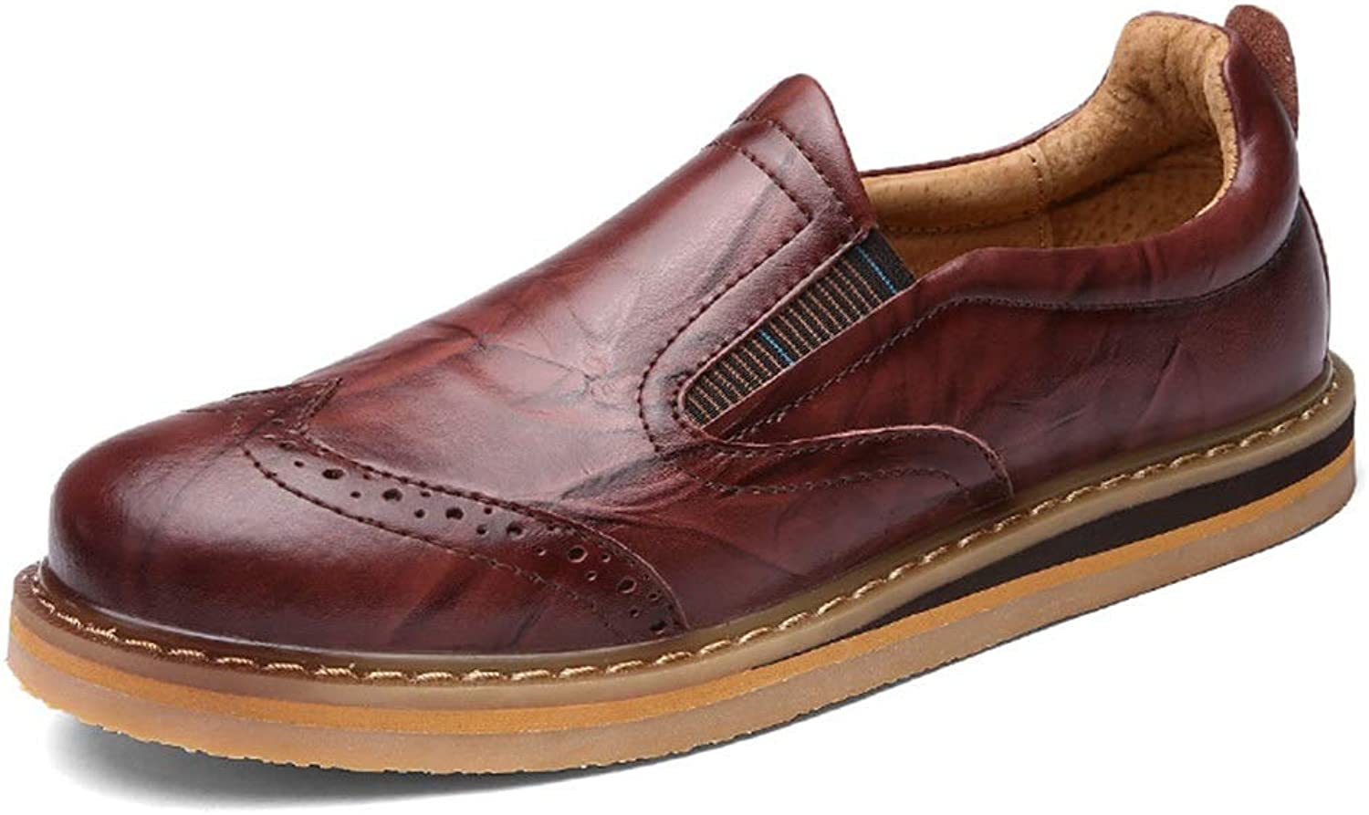 Men's Fashion shoes Men's Casual shoes Low to Help shoes Men's shoes Brock Carved Leather shoes Leather Comfortable