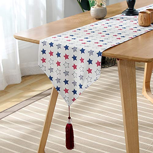 Generico Simple Five-pointed Star Pattern White Background Table Runner, Tv Cabinet Dust Cover Cloth Towel, Tea Table Table Runner, Dinner Table Decoration 33x140cm