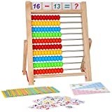KIDWILL Preschool Learning Toy, 10-Row Wooden Frame Abacus with Multi-Color Beads, Counting Sticks, Number Alphabet Cards, Math Calculating Tool Toy Gift for 3 4 5 6 Years Old Boys Girls