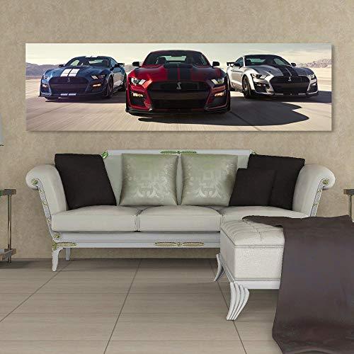 MXK Wandkunst Bild Sportwagen Leinwand HD Print 1 Panel Banner Luxusautos Ford Mustang Shelby Gt500 Wohnkultur Gemälde Wohnzimmer 35x120cm Ungerahmt