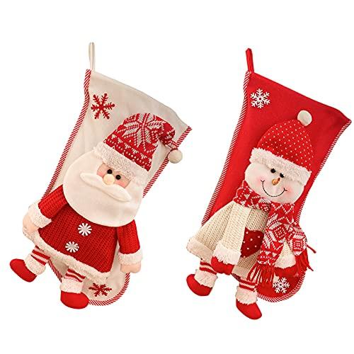 SLDHFE Calcetines de Navidad de 45 cm, calcetines de Navidad personalizados, calcetines colgantes 3D de felpa, muñeco de nieve de Papá Noel, calcetines para decoración del hogar de Navidad