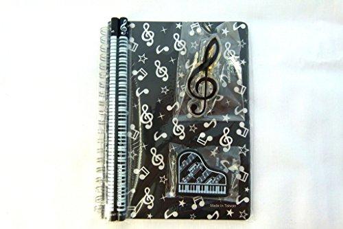 Musik Themen Briefpapier Notizbuch Satz - Schwarz Musical Notes Spirale gebunden Notizbuch, Klavier Radiergummis, Violinschlüssel Clip und 2 Musical Notes Bleistifte