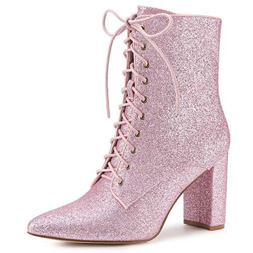 Allegra K Damen Spitzzehen Blockabsatz Lace Up Glitzer Boots Stiefel chnürstiefel Rosa 40