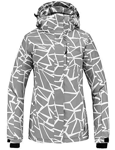 Wantdo Women's Waterproof Snowboard Jacket Windproof Winter Earm Coat Gray Stripe XL