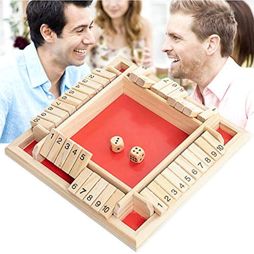 1 juego de 4 vías Cierra la caja juego de dados 4 caras grandes de madera Juego de mesa de madera de juguete inteligente juego para el aprendizaje de números, Estrategia y Gestión de Riesgos, Rojo