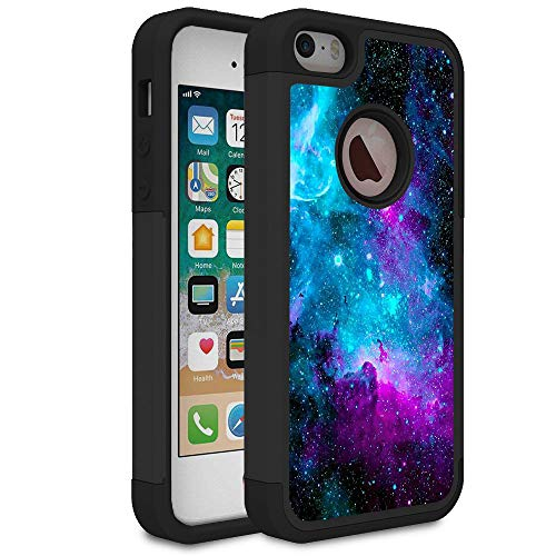 iPhone 5S Case,iPhone 5 Case,iPhone SE Case,Rossy Galaxy Nebula Space Design Shock-Absorption Hard PC and Soft Silicone Dual Layer Hybrid Armor Defender Protective Case Cover for Apple iPhone SE/5S/5