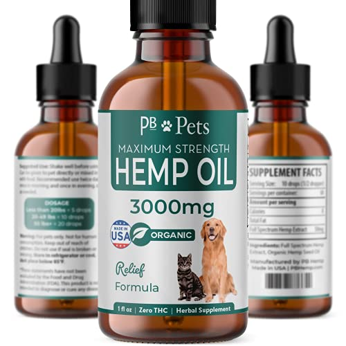 PB Pets Hemp Oil for Dogs and Cats - Organically Grown & Made in USA - Pet Relief Herbal Supplement, Natural Calm, Hip & Joint Support, Pain, Skin Health
