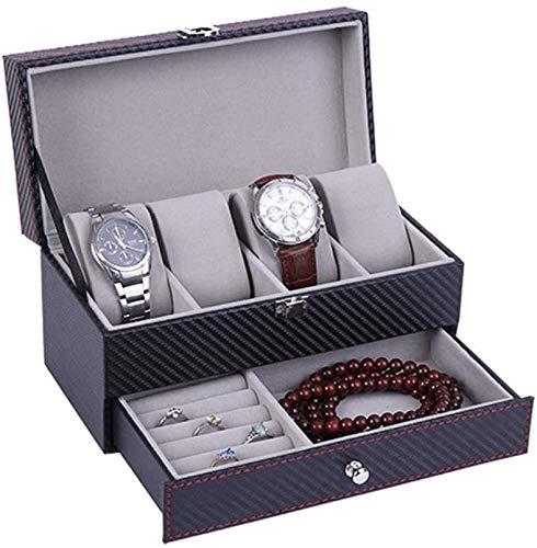 BRFDC Caja de Relojes de Cuero Caja de Reloj de 2 Capas de joyería con la Tapa de Cristal for Hombre del Reloj 4 Caja de Almacenamiento Ideal for O Seguir Este Uso Tienda