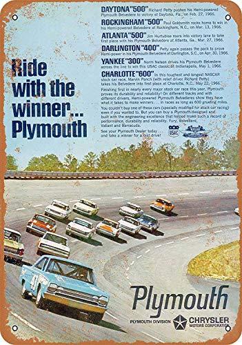 SRongmao 1966 426 Hemi Plymouth Belvedere Racing - Cartel de Metal (30,5 x 40,6 cm), diseño de Carrera