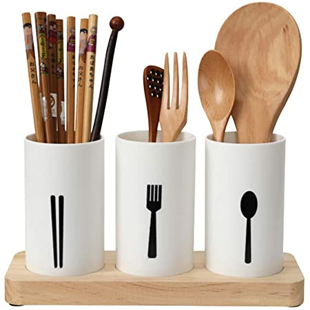 KITOME Plastic Self Draining Tableware Storage Box - Spoon, Knife, Fork, Chopstick, Cutlery Holder/Organizer Stand for Kitchen, Dining Table (White)
