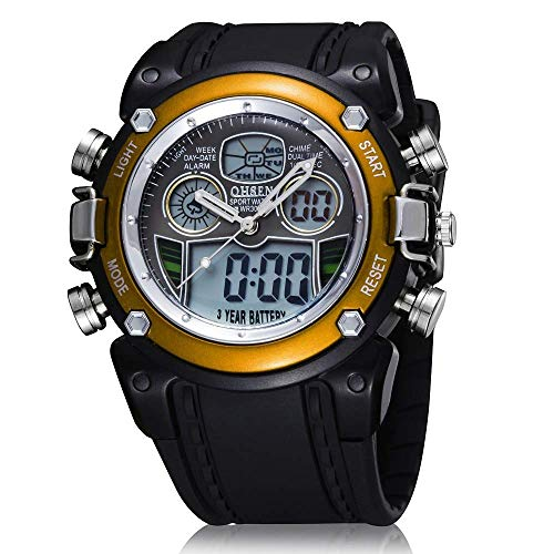 Mens Sports Digital Watch - 5 Bars Waterproof Digital Watches with Alarm/Timer/Black Large Face Outdoor Sport Led Wrist Watch for Men Many Occasions, The Best Gift, XA@SSB, Yellow