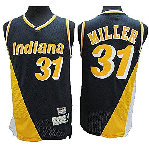 Fei Fei Indiana Pacers #31 Reggie Miller Camiseta de Baloncesto para Hombre Fan Transpirable Resistente al Desgaste Camiseta Uniforme(Tamaño: S-XXL),4,S