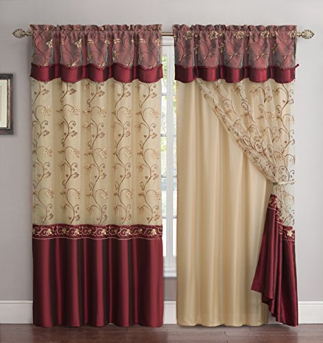 """Victoria Classics All-in-One Burgundy Window Curtain Drapery Panel: Double-Layer, Solid Color Back with Embroidered Sheer Top and Valance, 55""""x90"""""""