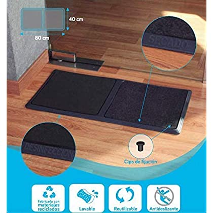 TIENDA EURASIA® Alfombra – Felpudo Desinfectante para la Entrada. Medida: 40 x 80 cm. Incluye 1 Base de Goma…