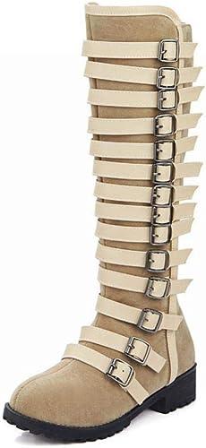 Fuxitoggo Bottes pour Femmes - Bottes de Chevalier en Boucle d'hiver Fermeture latérale - Haut Talon - Bottes (Couleuré   Beige, Taille   34)