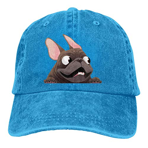French Bulldog Fashionable Baseball Caps for Men and Women-Classic Cowboy Hats, Breathable, Suitable for All Seasons. Blue