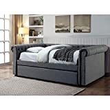 FA Furnishing Barrie Nail Trim Button Tufted Full Size Daybed w/Trundle - Gray Fabric