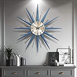 XUEXIONGSP 28In Metal Wall Clock, 3D Sunburst Decor Silent Clocks, Large Living Room Wall Watches Silent Non Ticking Modern Quartz Decoration Clock,b,28in