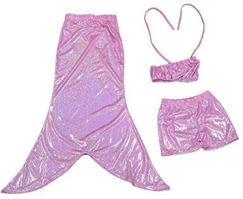 Collager Baby Girls 3pcs Swimmable Mermaid Tail Princess Bikini Swimwear (US 6T, Pink)