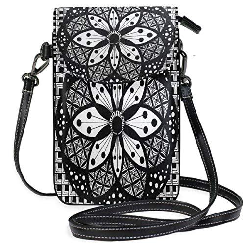 XCNGG Rosette Zentangle Pictures Cell Phone Purse Wallet for Women Girl Small Crossbody Purse Bags
