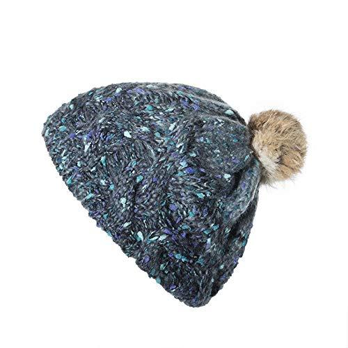 QQGG Gorros Invierno Mujer Las Mujeres Hechas a Mano Jacquard Color Mixto, Pelo de Conejo Bola de Punto Hat rápida Somero Gorrita Tejida de Punto Gorro Esqui Mujer (Color : Blue)