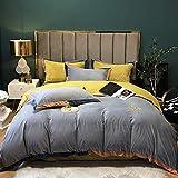bettwäsche 155 x 220 Baumwolle grau-Leichte Luxus einfache doppelseitige Fleece verdickte Flanell Bettbezug Winter Wärme Bettdecke Familienwohnung Bettlaken Bettbezug Kissenbezug Geschenk-EIN_1,8 m B