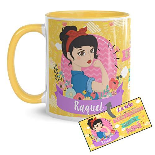 Kembilove Taza de Café Personalizada para Madre con Frase Graciosa e Interior en Color – Taza de Desayuno para Regalar el día del Madre – Tazas de Café para Madres y Abuelas – Tazas de 350 ml