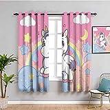 Cortinas de privacidad con diseño de unicornio con arco iris y notas musicales nubes en el cielo, decoración de ilustraciones decorativas, color rosa y amarillo