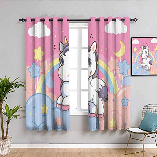 Girls Kids Closet Curtain Unicorn with Rainbow Music Notes Clouds in The Sky Decorative Artwork Indoor Curtain Pink Yellow W63 x L63 Inch