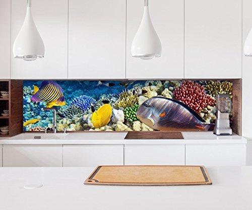 Aufkleber Küchenrückwand Unterwasser Welt Korallen Fische Folie selbstklebend Fliesen Möbelfolie Spritzschutz 22A1153, Höhe x Länge:70cm x 400cm
