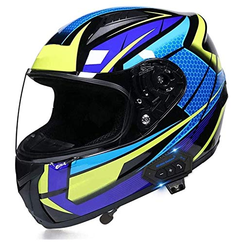 Unisex-Adult Motorcycle Bluetooth Helmets Full Face Flip Up Modular Integrated Helmets with Dual Visors, DOT/ECE Approved, Built-in Speaker Headset Microphone (59-64cm)