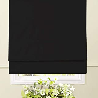 Artdix Roman Shades Blinds Window Shades - Black 20 W x 36L Inches (1 Piece) Blackout Solid Thermal Fabric Custom Made Roman Shades for Windows, Doors, Home, Kitchen, Living Room
