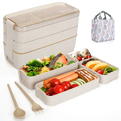 Aitsite Bento Box Japanese Lunch Box with Dividers 900 ml - Leakproof Eco lunchbox for Kids and Adults with Lunch Bag- BPA FREEBeige