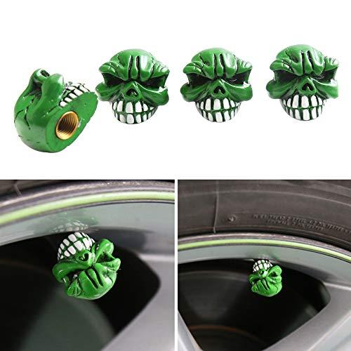 Fesjoy Tapas de válvula de neumático, tapas de válvula de aleación de aluminio, tapas de válvula de neumático tipo diente verde para coche, motocicleta, bicicleta y bicicleta, paquete de 4