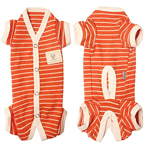 TONY HOBY Female/Male Pet Dog Pajamas Stripes 4 Legged Dog pjs Jumpsuit Soft Cotton Dog Clothes(L, Orange+White-Boys)