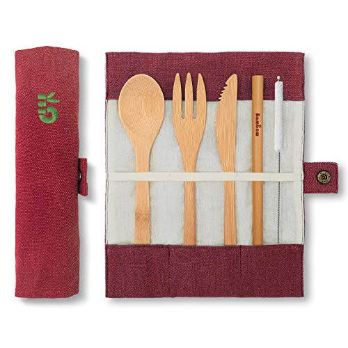 Reusable Bamboo Cutlery Set | Bamboo Travel Cutlery | Knife, Fork, Spoon, Straw| Wooden Cutlery Set | Wooden Utensils in Pouch | Bamboo Utensil Set | Wooden Picnic Cutlery| 20 cm | Berry | Bambaw
