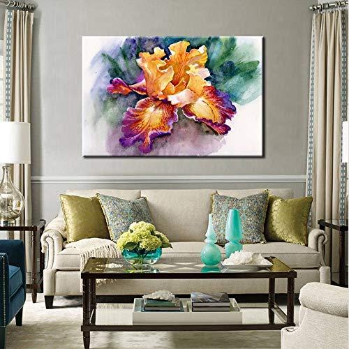 N / A Colorido Abstracto jardín Iris Flor Imagen póster e impresión Pared Arte Lienzo Pintura Sala decoración de la Pared Sin Marco 40x60 cm