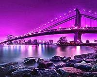 DMFNGJSD 数字油絵 フレーム付き 、数字キット塗り絵 手塗り DIY絵-夜景-デジタル油絵 40x50 cm