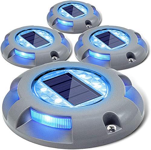 Siedinlar Luces Solares de cubierta luces Entrada luz LED con energía solar luz de muelle al aire libre marcadores de carretera impermeables para Jardín Paso Acera Escalera Camino Patio 4 PACK (Azul)