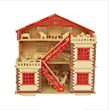 NWFashion 17' Wooden Dream Dollhouse 2 Floors DIY Kits Miniature Doll House with Furniture (Big House+Furniture)