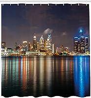 AFDSJJDK シャワーカーテンライナー カラフルな反射と夜のデトロイト川のシャワーカーテン現代の大都市の街並み