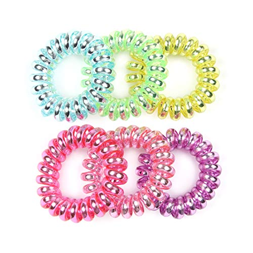 RIAH FASHION Telephone Cord Coiled Elastic Infinity Hair Tie Set - Invisible Traceless Stretch Spiral Ponytail Tube Ring (6PCS - Pastel Multi)