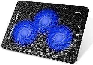 """Cooling Pad, HAVIT 12""""-17"""" Laptop Cooler with 3 Fans, 2 USB Ports, Blue LED Lighting, Black+Blue (F2056)"""
