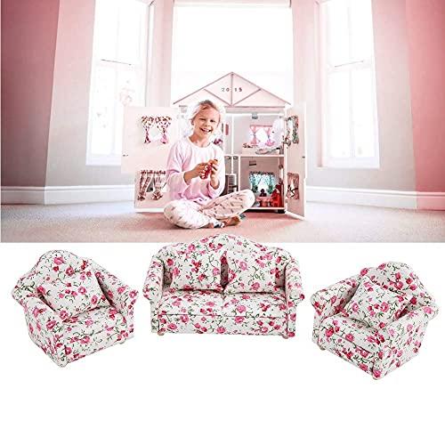 N\C ZZST Juego de sofás de casa de muñecas, Accesorios de casa de muñecas a Escala 1/12, Juego de Mini Muebles con diseño de Flores y 4 Cojines Traseros ZZST