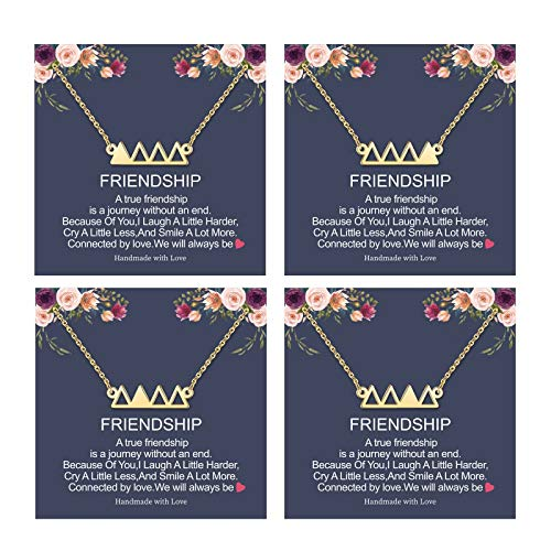Friendship Necklace Gifts for Best Friend, 14K Gold Plated Triengle Necklace Friend Gifts for Women Friendship Necklace for 4 Best Friend Christmas Gifts