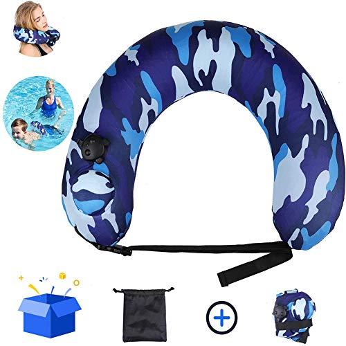 ZHANGLE Tragbarer Schwimmtrainer Schwimmgürtel, aufblasbares Nackenkissen Flugzeugreisen, Schwimmkickboards Neck Back Float Swim Tube Trainer, für Kinder Erwachsene