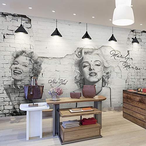 Poowef 3d Wallpaper Marilyn Monroe europäischen Retro Cafe Bar und ein Bekleidungsgeschäft Wandbild Papier Hintergrundbild